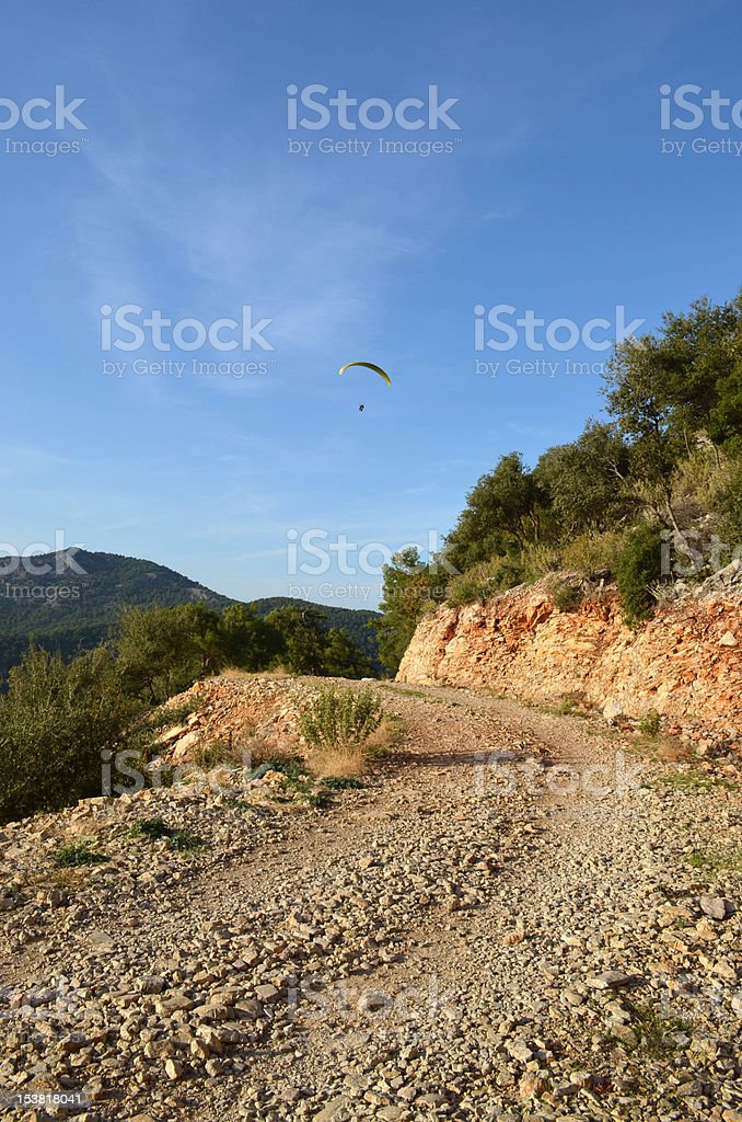Mountain Path overlooking Oludeniz stock photo