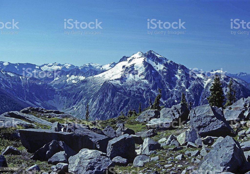 Mountain Peak along an Alpine trail royalty-free stock photo