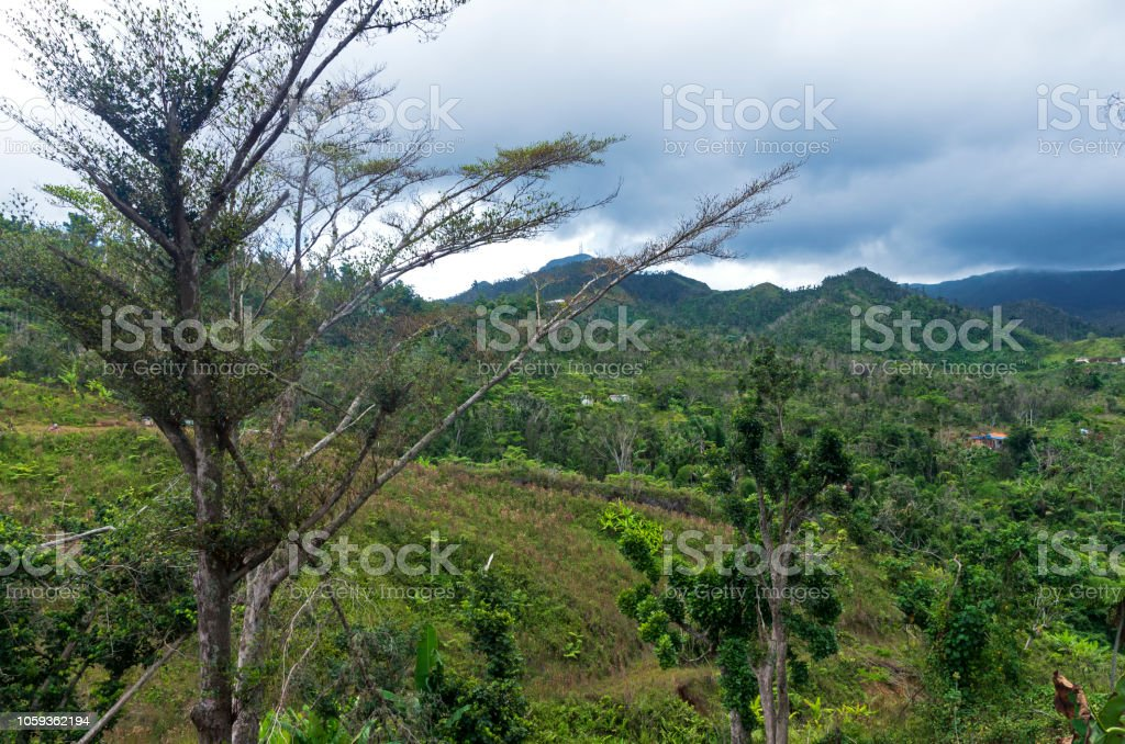 Mountain Peak and Valley of Cordillera Central in Jayuya stock photo