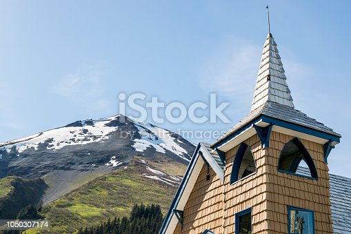 Mountain peak viewed from the streets of Seward in the Kenai Fjords National Park, Alaska