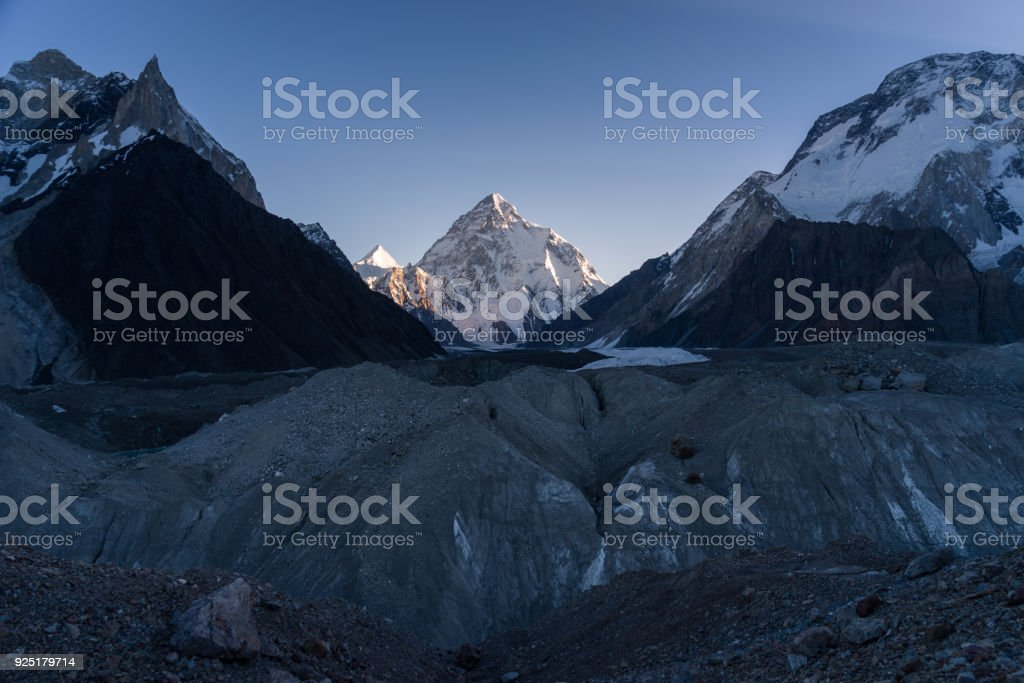 K2 mountain peak at sunrise, second highes mountain in the world,...