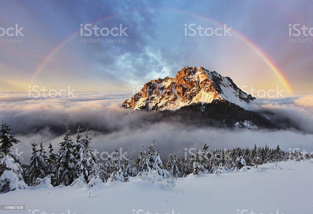 Mountain peak at winter, Slovakia mountain Fatra stock photo