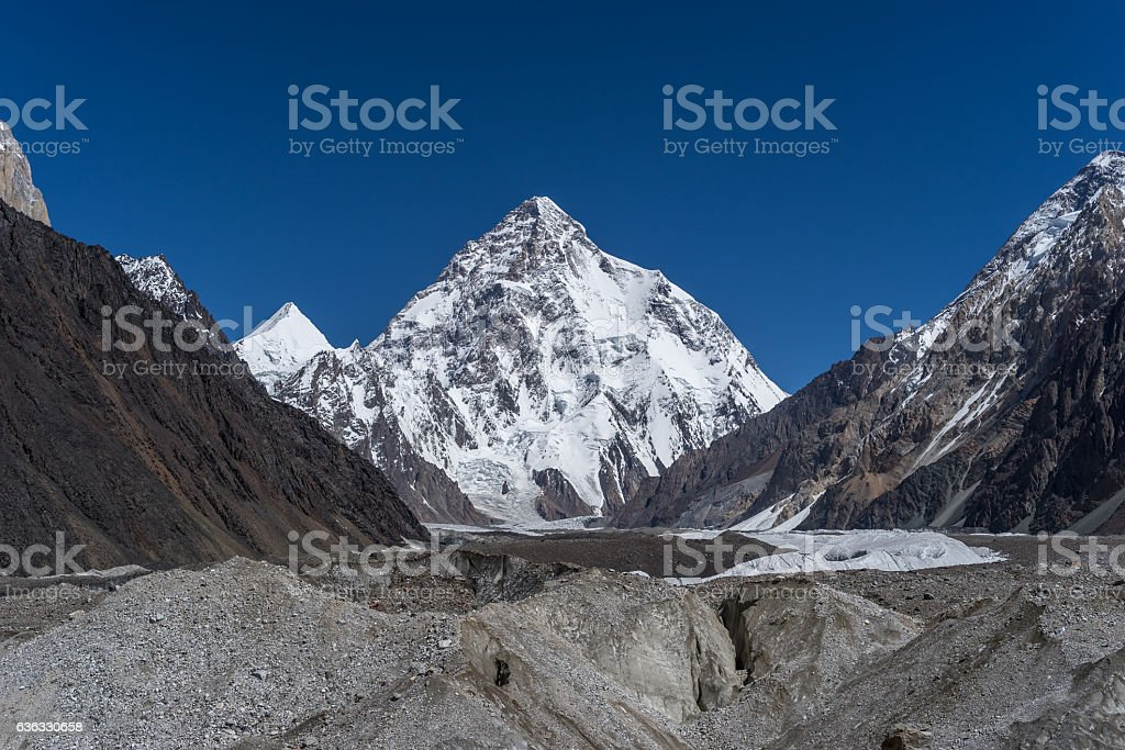 K2 mountain peak behind Baltoro glacier, Skardu, Gilgit, Pakistan stock photo