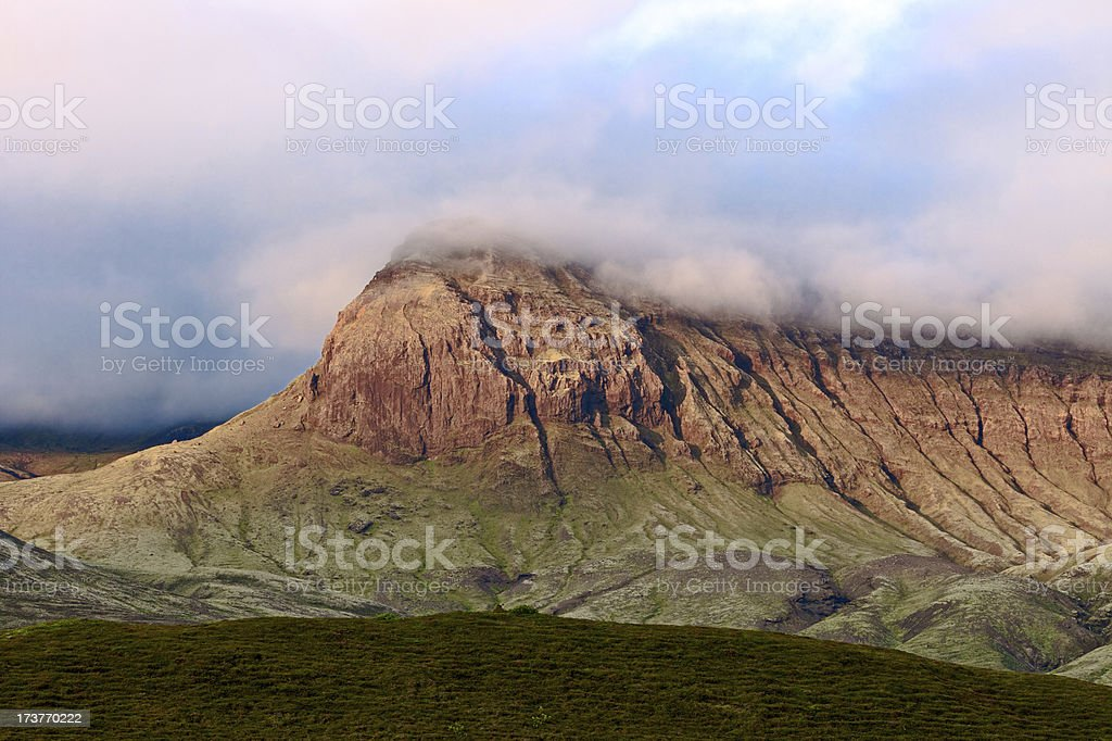 Mountain peak covered by the fog. Iceland. royalty-free stock photo
