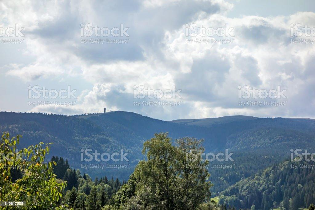 Mountain peak Feldberg with tower - distant view stock photo