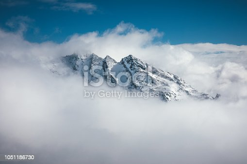 Majestic snowcapped mountain in France (Val Thorens). View from Cime Caron (3200m).
