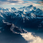 Mountain peak in Nepal Himalaya shot from an aerial point of view.