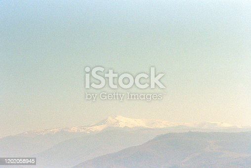 Mountain peak in snow