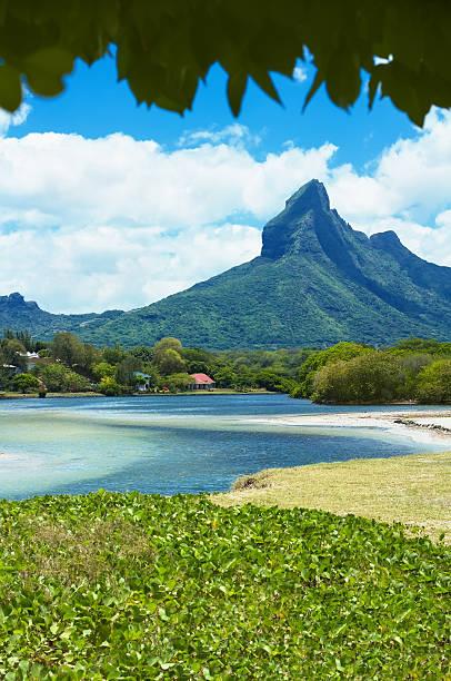 Mountain peak in Tamarin, Mauritius island stock photo