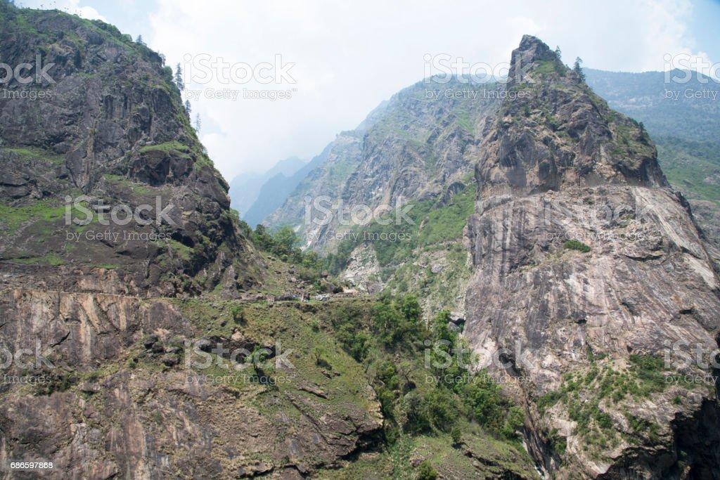 Mountain peak in the Annapurna royalty-free stock photo