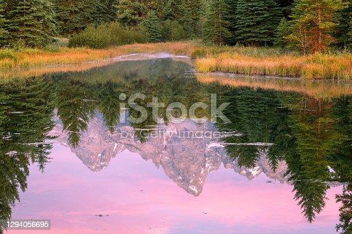 istock Mountain peak reflection in Beaver Pond at Schwabachers Landing at Sunrise 1294056695