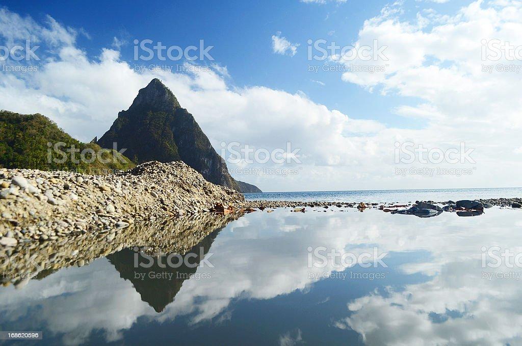 mountain peak reflection landscape stock photo