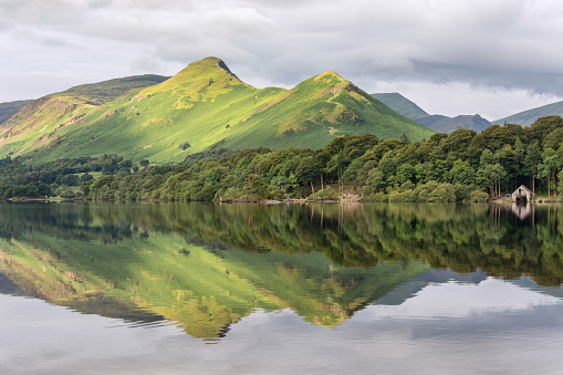 Mountain Peak Reflections In Derwentwater Lake Stock Photo - Download Image Now