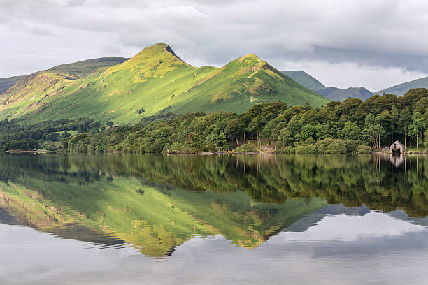 Mountain Peak Reflections In Derwentwater Lake. stock photo