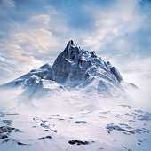 3D illustration of completely computer generated majestic snowy mountain under glorious sky