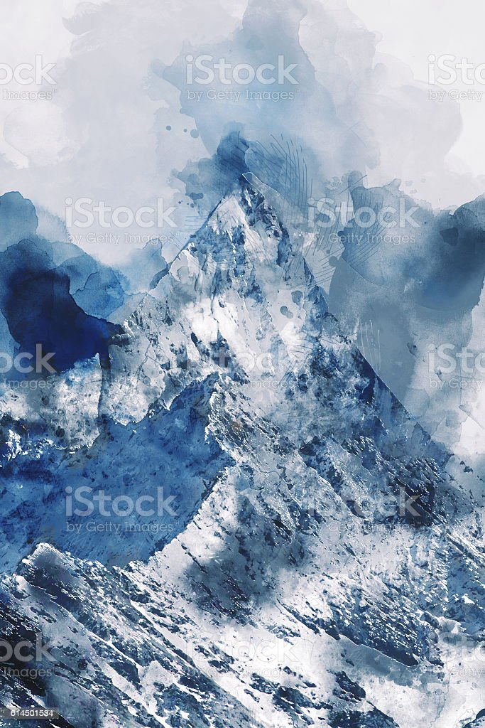 Mountain peak with snow stock photo