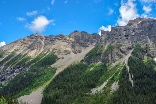 Mountain Peaks along the Plain of Six Glaciers hiking trail, Banff National Park, Alberta, Canada.