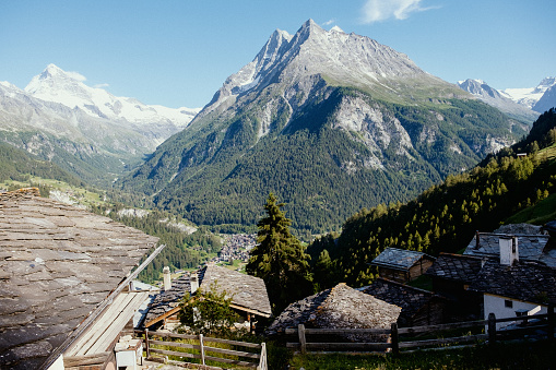 Mountain peaks and chalets in Val d'Hérens in Valais, Switzerland