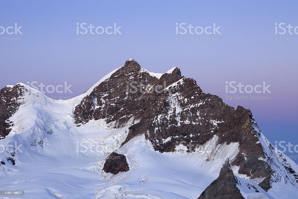 Mountain peaks at dawn from Jungfraujoch in Switzerland royalty-free stock photo