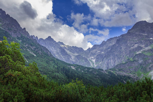Mountain peaks at the Morskie Oko lake. stock photo