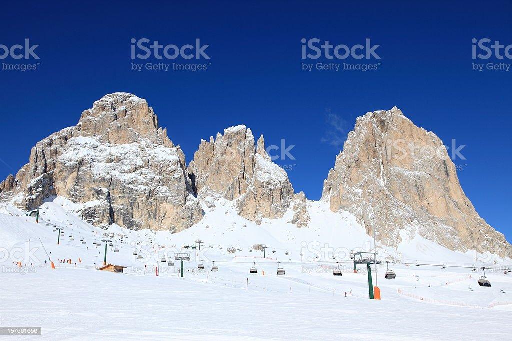 Mountain peaks in Col Rodella Ski arena, Dolomites royalty-free stock photo