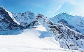 Mountain peaks in Mannlichen in winter Swiss Alps
