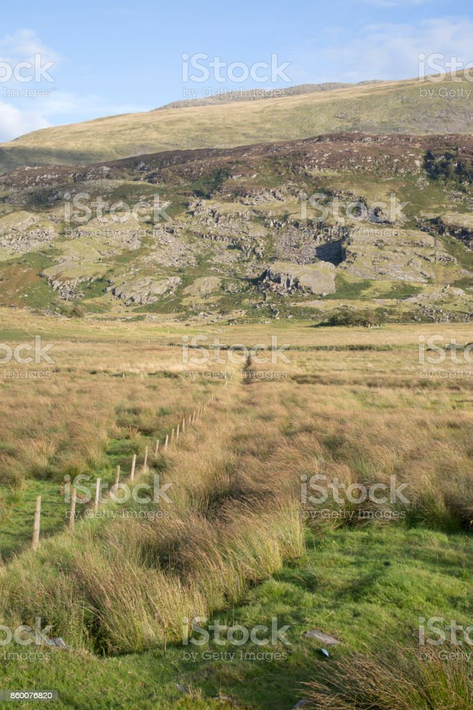 Mountain Peaks in Snowdonia, Wales stock photo