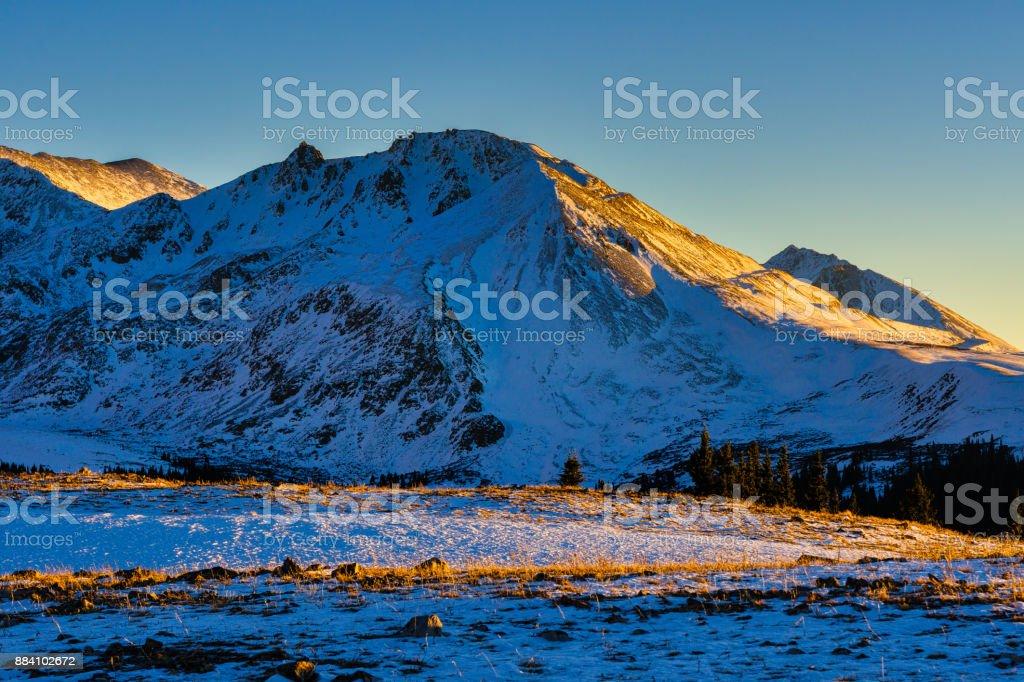 Mountain Peaks in Sunset Light stock photo