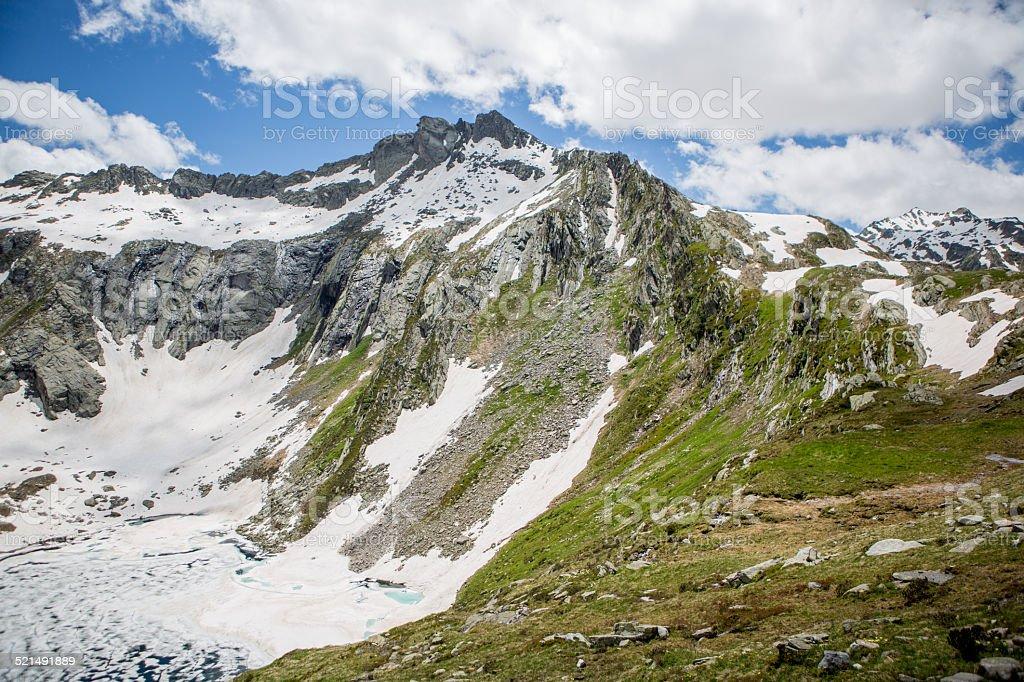 Mountain peaks in Switzerland-Spring stock photo