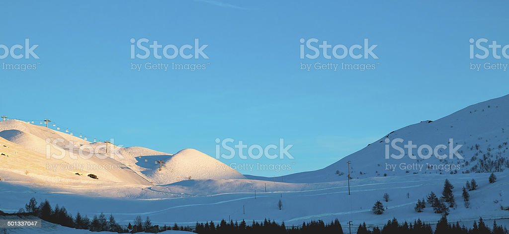 mountain peaks in the Alps sunset royalty-free stock photo