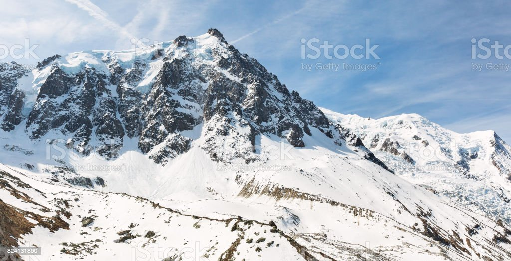 mountain peaks in the Mont Blanc area stock photo