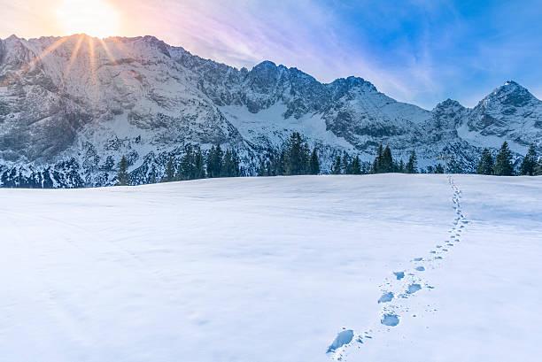 berggipfel im winter - fußspuren stock-fotos und bilder