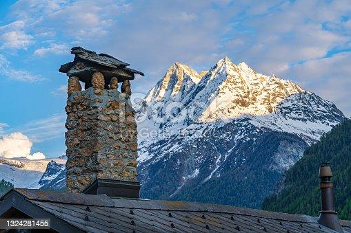 istock Mountain peaks of Dent de Veisivi and Denti de Perroc, Switzerland 1324281455