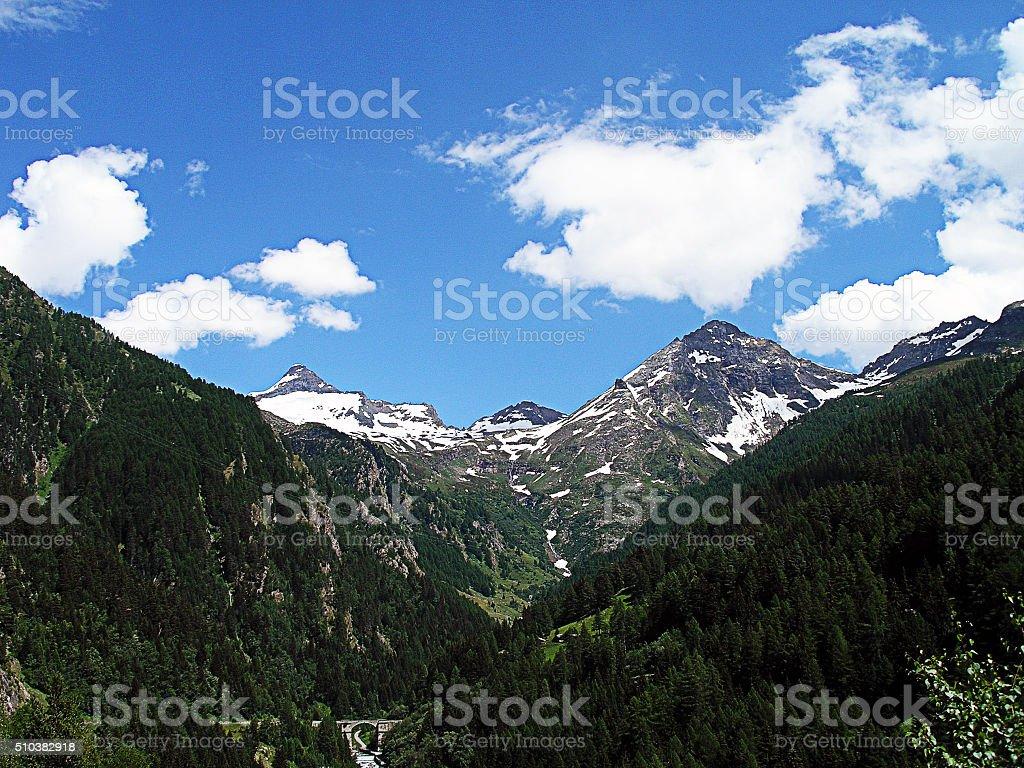 Mountain peaks, Switzerland. stock photo