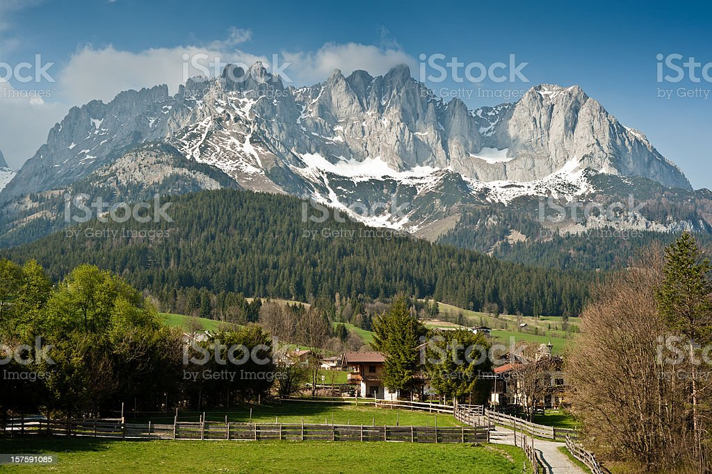 Mountain Peaks Wilder Kaiser stock photo
