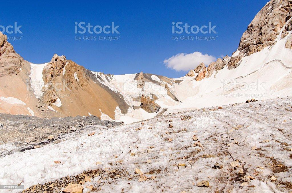 mountain peaks with glacier zbiór zdjęć royalty-free