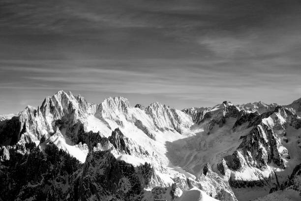 mountain range - aiguille du midi - mountain range stock photos and pictures
