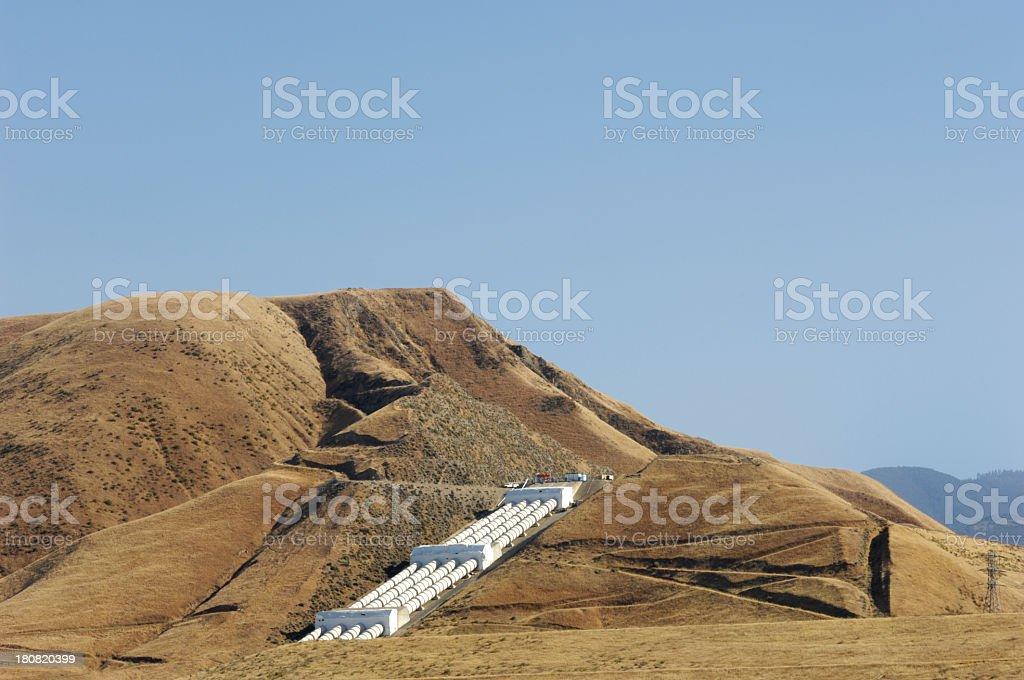 Mountain Range and California Aqueduct Pumps royalty-free stock photo
