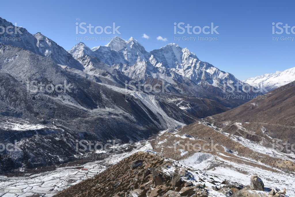 Mountain range around Kangtega, Nepal stock photo