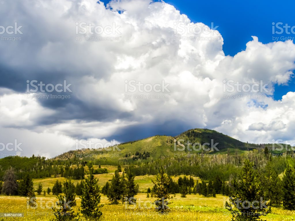 Mountain range before storm stock photo