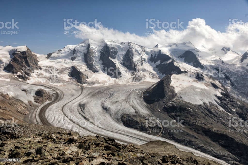 Mountain Range Diavolezza in the Swiss alps, Engadin, Graubunden, Switzerland stock photo