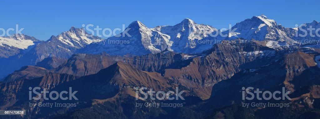 Mountain range Eiger, Monch and Jungfrau stock photo