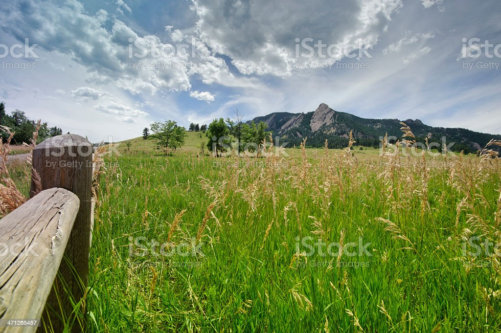 Mountain Range, Grass Field and Fence stock photo
