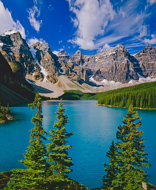 Mountain range in Banff NP part of the Canadian Rockies Valley of the Ten Peaks With Moraine Lake In Banff NP, Canada valley of the ten peaks stock pictures, royalty-free photos & images