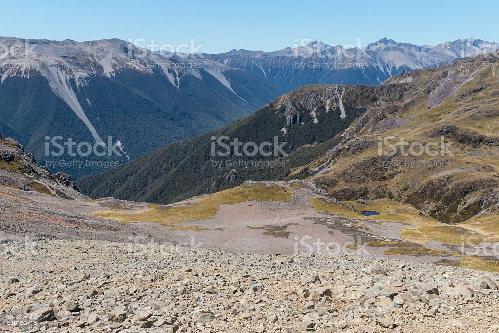 mountain range in Nelson Lakes National Park, New Zealand stock photo