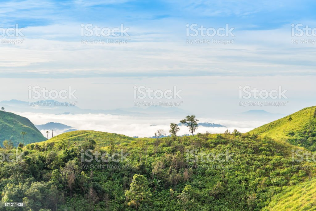 Mountain range landscape under morning sky and cloud. stock photo