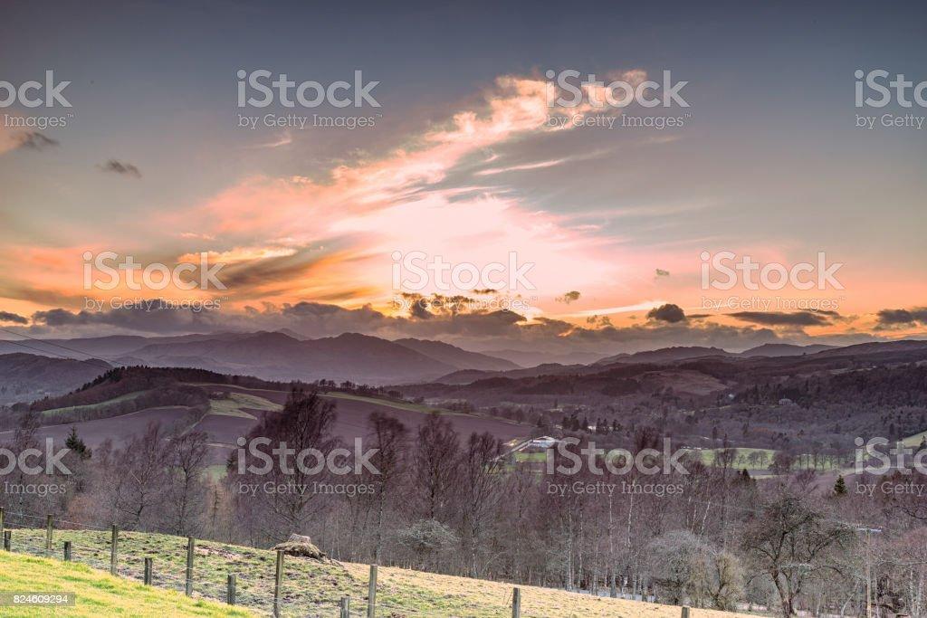 Mountain Range of Ben Chonzie, from Crieff Scotland stock photo