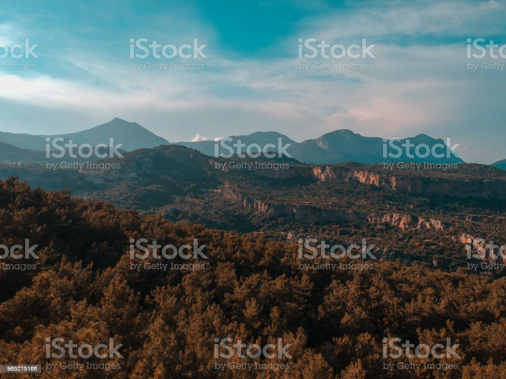 Mountain Range On a Cloudy Day Aerial Shot zbiór zdjęć royalty-free
