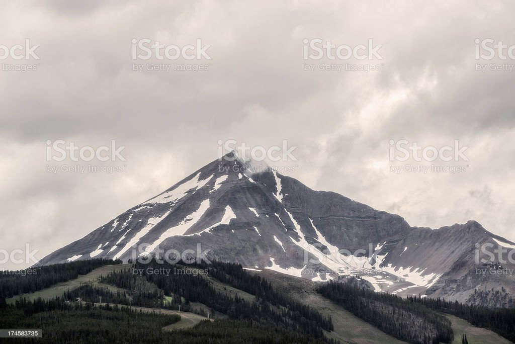 Mountain Range on a Cloudy Overcast Day Yellowstone National Park royalty-free stock photo