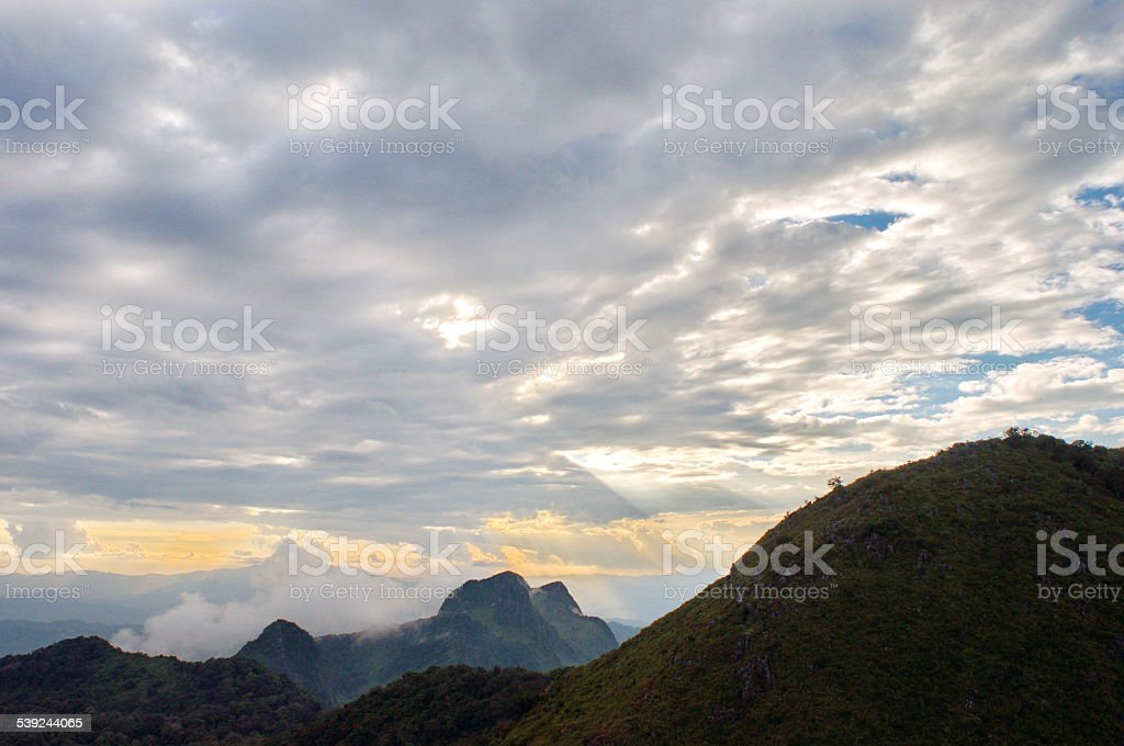 Mountain range with sunlight royalty-free stock photo
